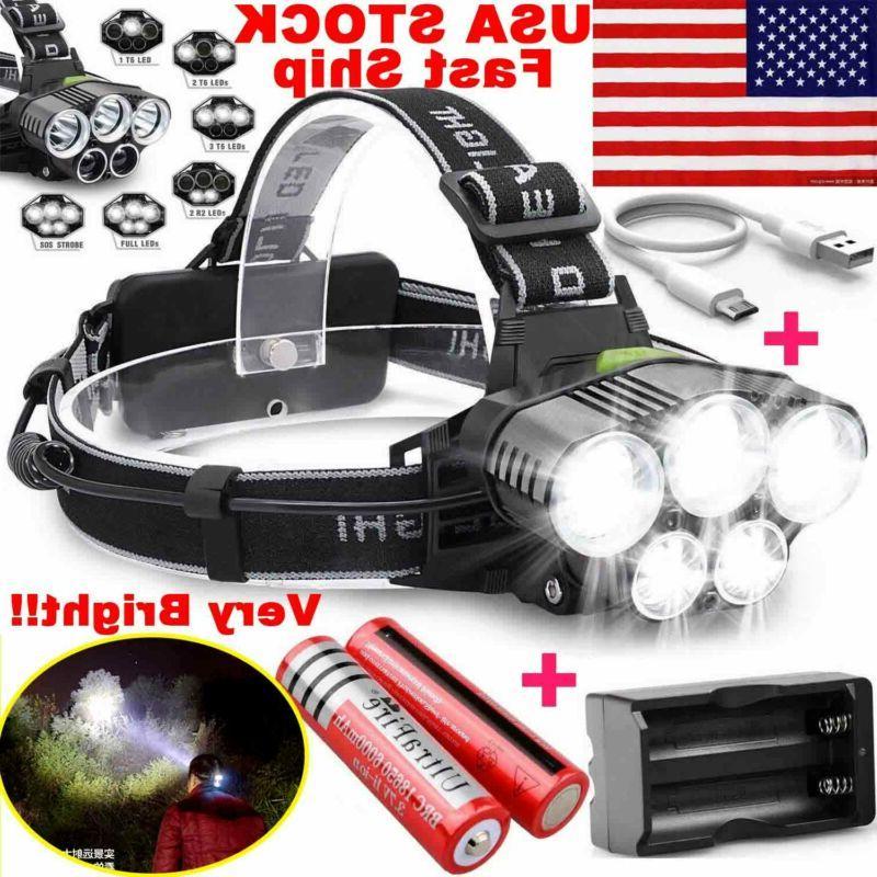 250000lm 5xt6 led lamp rechargeable light flashlight