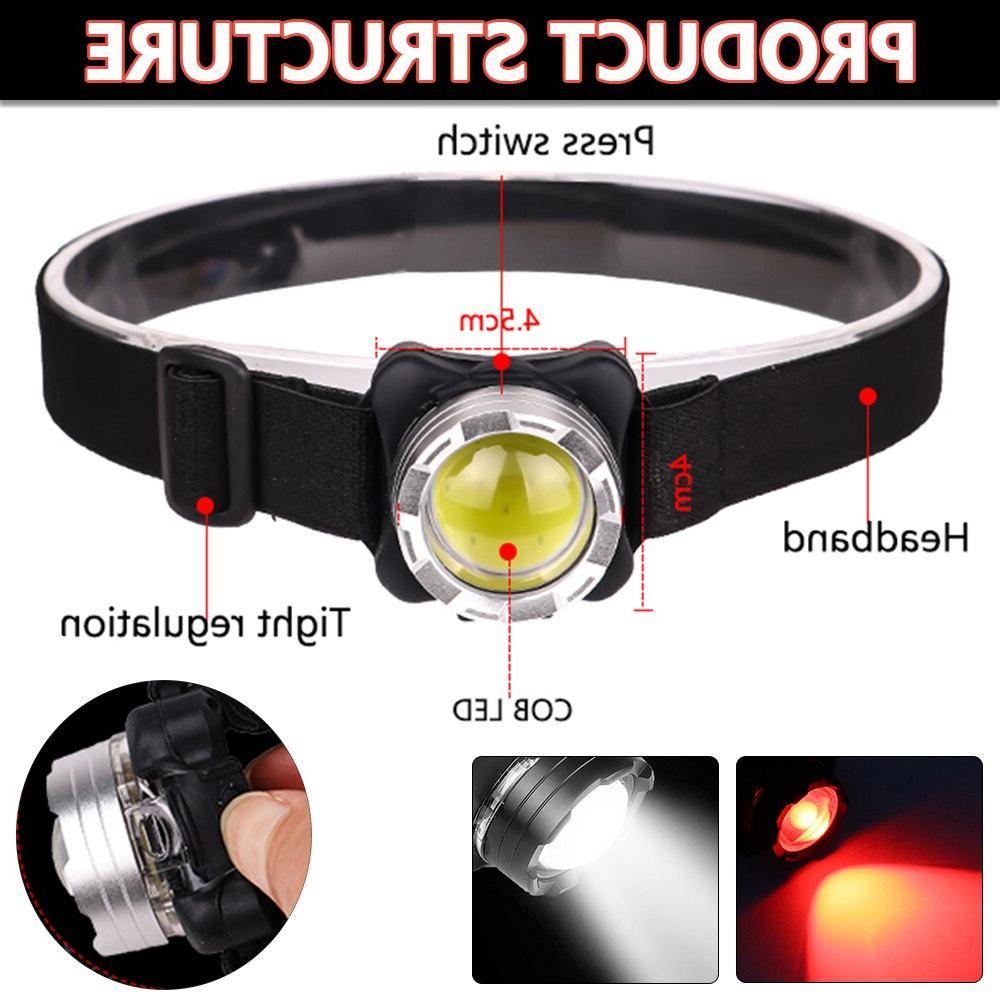 Powerful <font><b>Headlamp</b></font> Rechargeable Headlight Light Built-in Battery <font><b>Waterproof</b></font> Head Lamp White Red Lighting