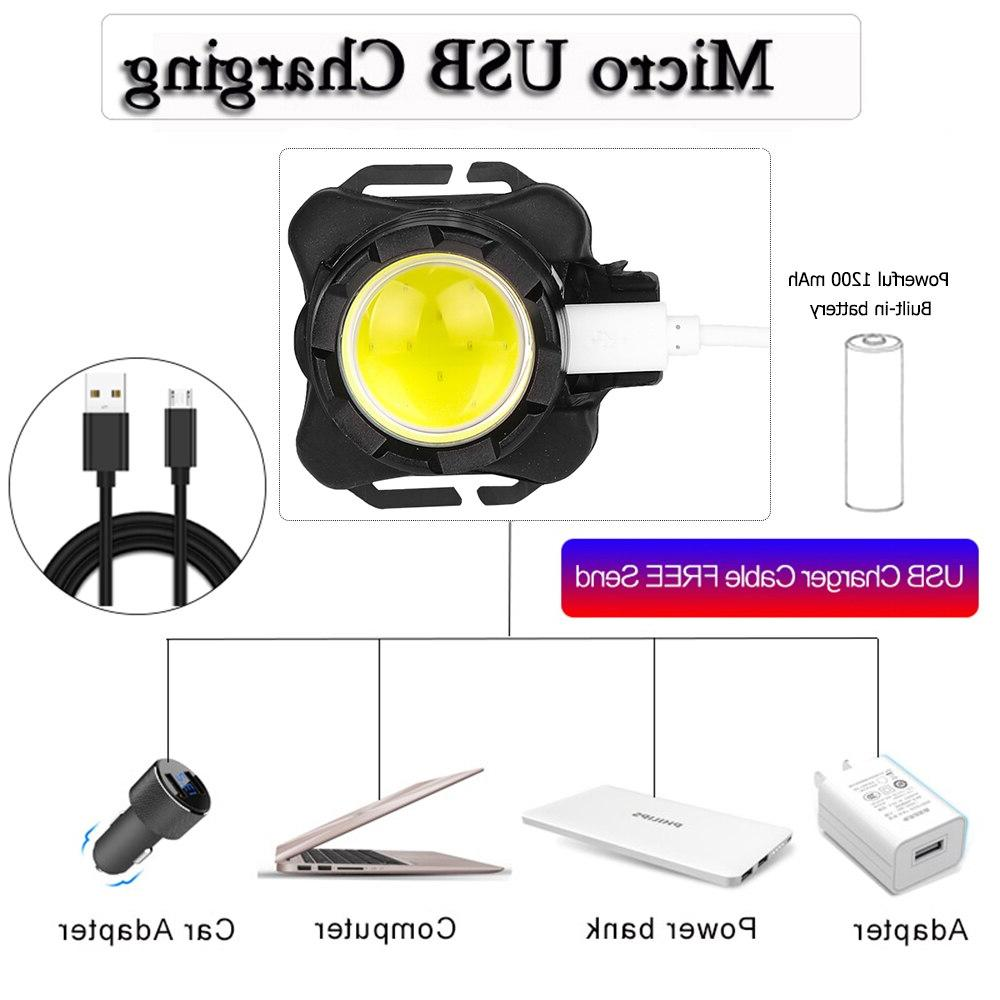 Powerful <font><b>Headlamp</b></font> USB Headlight COB Light with <font><b>Waterproof</b></font> Head Lamp Red