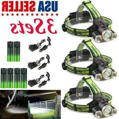3Set LED Zoom Headlamp +Battery+Chargers