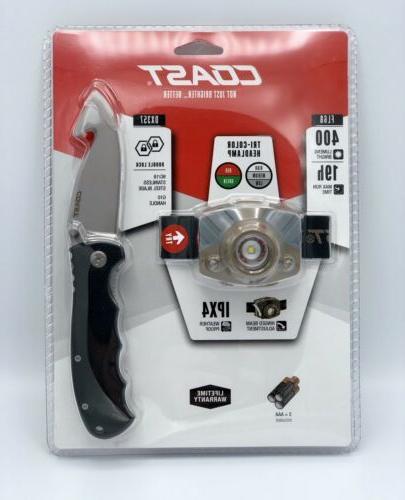 400 lumen headlamp and knife combo