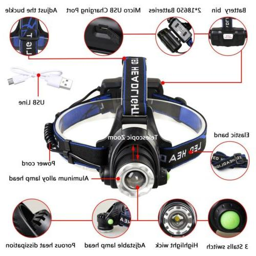 90000Lumen Headlamp USB Headlight Head