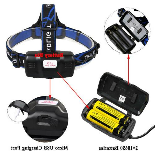 250000Lumen LED Headlamp USB Headlight