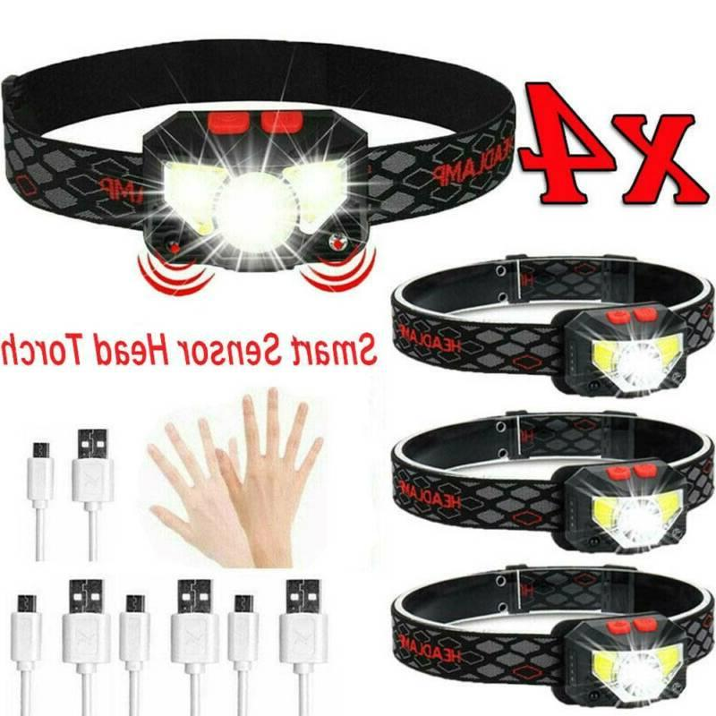 4x 85000Lm Motion Sensor Headlight Head Torch