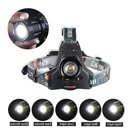 BESTSUN Modes Rechargeable LED Headlamp, Head Output Hunting Riding Walking 18650 Charger Included