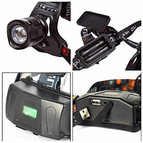BESTSUN 2000 Modes Zoomable Rechargeable Headlamp, Head Flashlight USB Output for Riding 18650 Batteries and Included