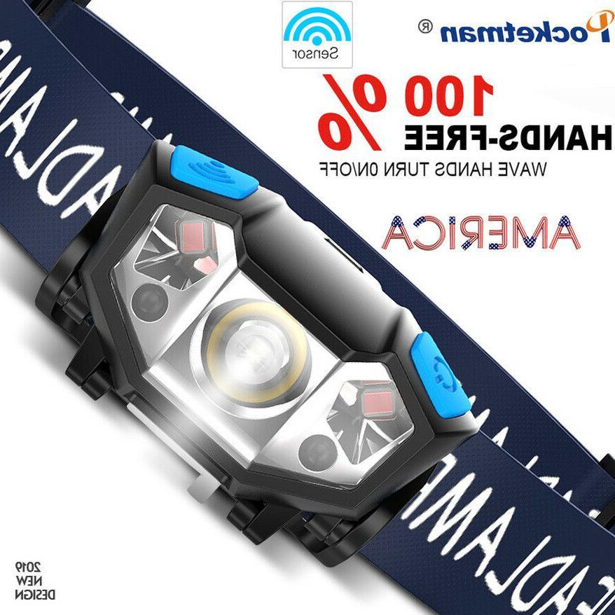 50000lm led headlamp rechargeable body motion sensor