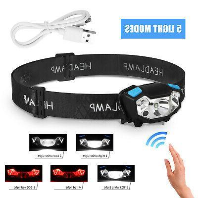 5000LM LED Headlamp Rechargeable Motion Sensor Head Lamp Hea