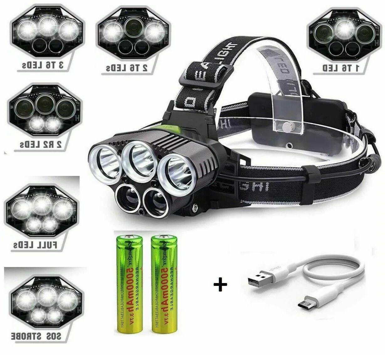 250000LM 5X LED Headlamp Rechargeable Head Light Flashlight Torch