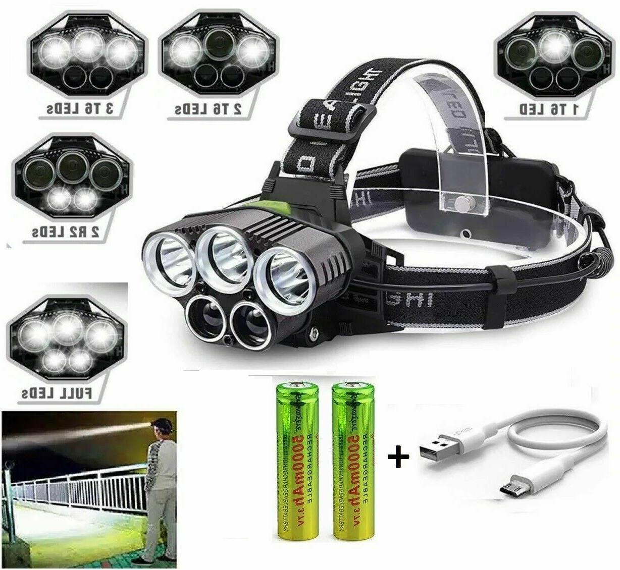 250000LM T6 Headlamp Rechargeable Head Flashlight Torch