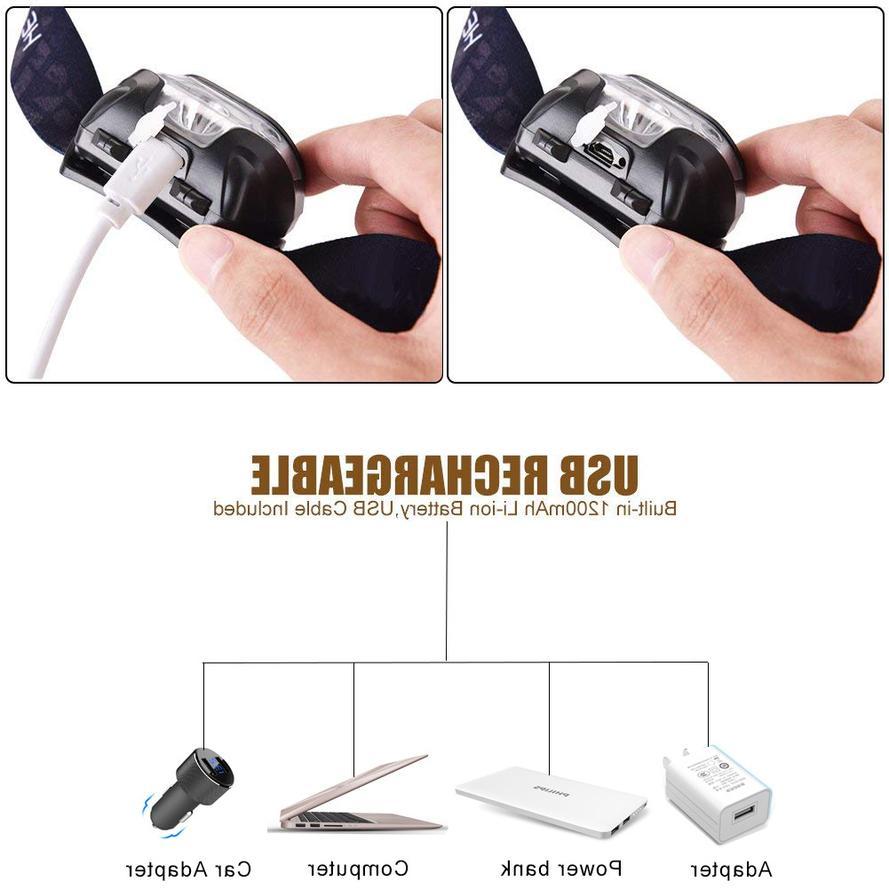 60000lm HeadLamp Motion Sensor USB lamp
