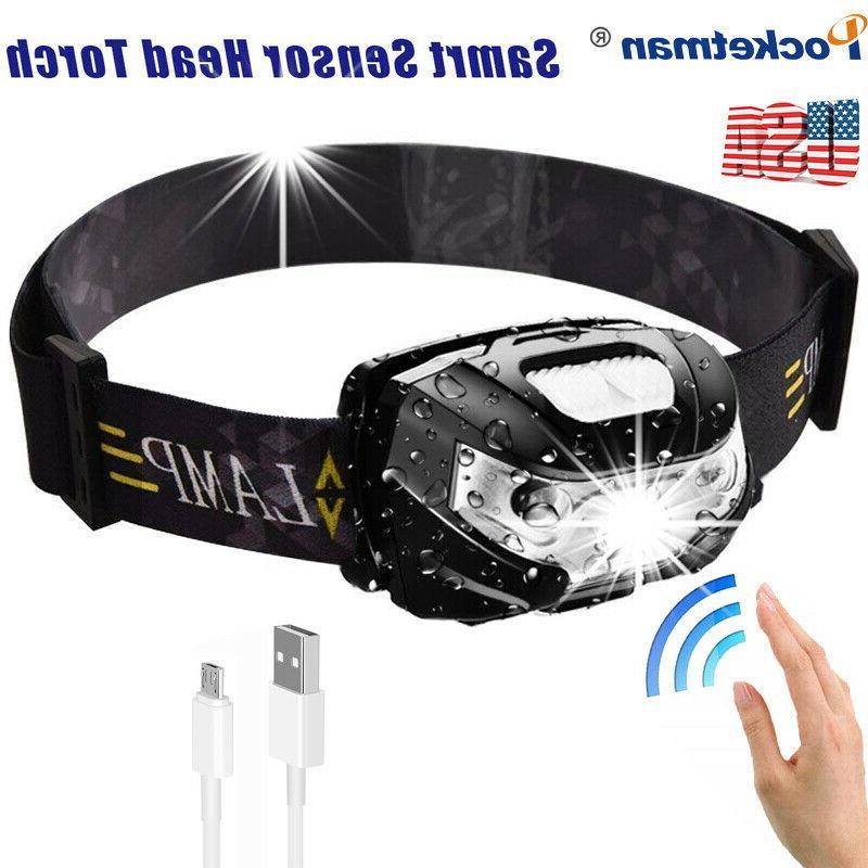 60000LM Motion Sensor LED Headlamp Rechargeable  5 Modes Adjustable Headlight