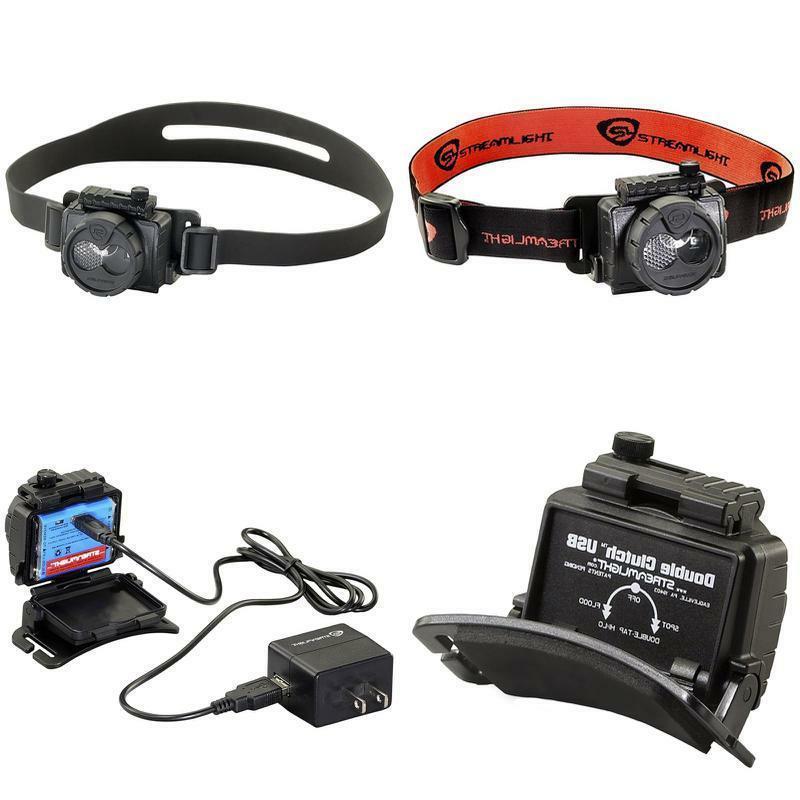61601 double clutch usb rechargeable headlamp black