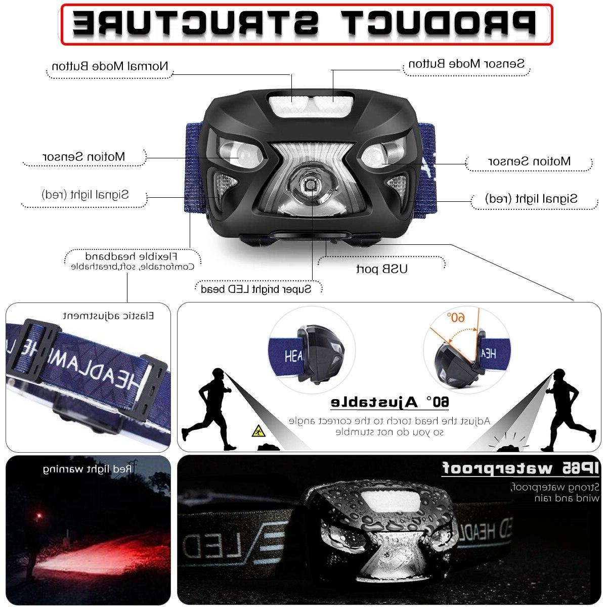 7000Lm <font><b>LED</b></font> Headlight Body Sensor Head Flashlight Torch Light Lamp USB