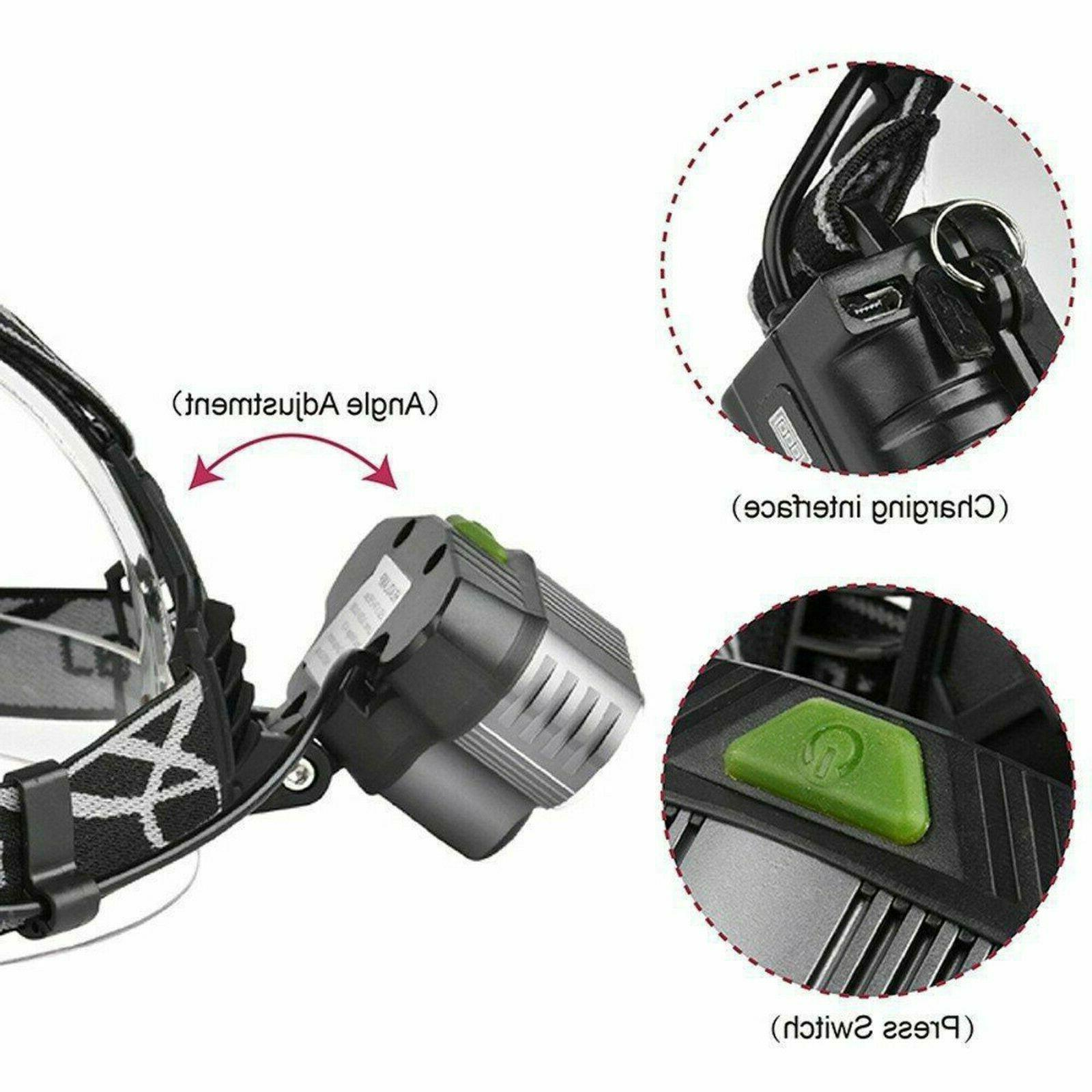750000LM 5X Headlamp Rechargeable Flashlight Torch Lamp
