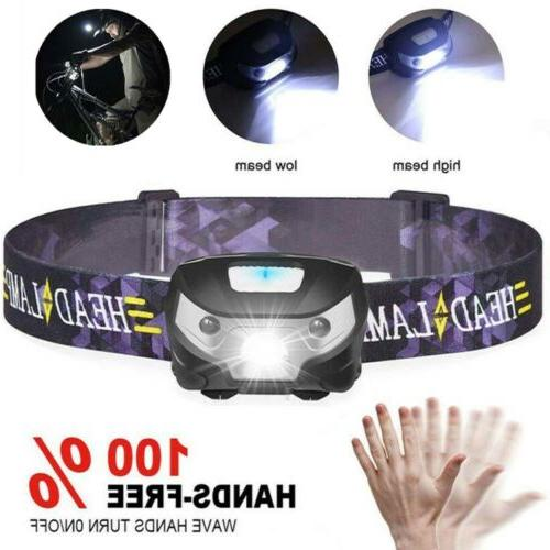 800000lm 2modes headlamp motion sensor headlight aaa