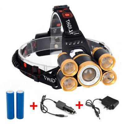 80000LM Zoom Rechargeable 18650 Head Light Torch Charger