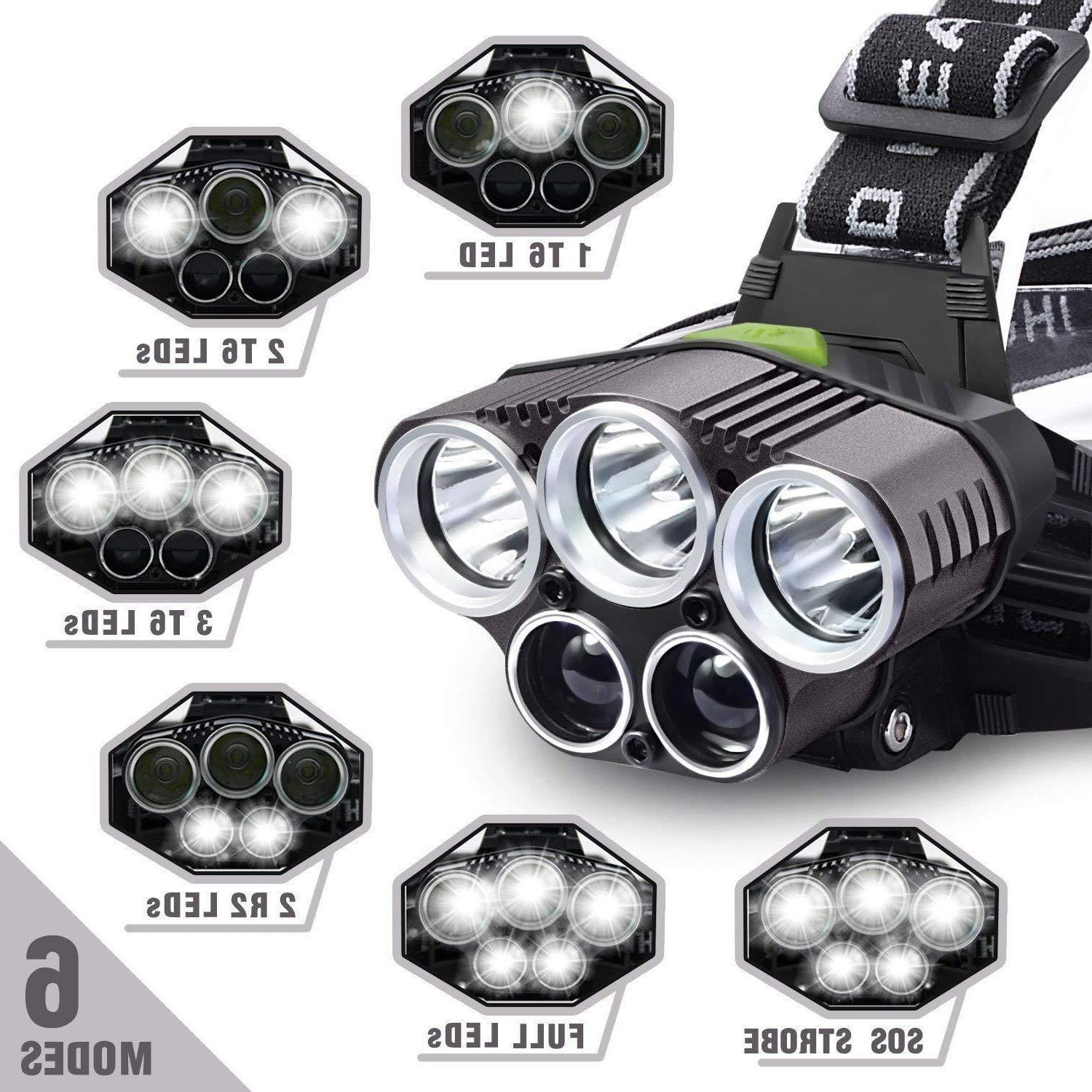 150000LM Headlamp 18650 Headlight Lamp+Batt+Charger
