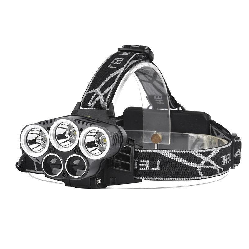 150000LM 5LED Headlamp Rechargeable 18650 Head Torch Lamp+Batt+Charger