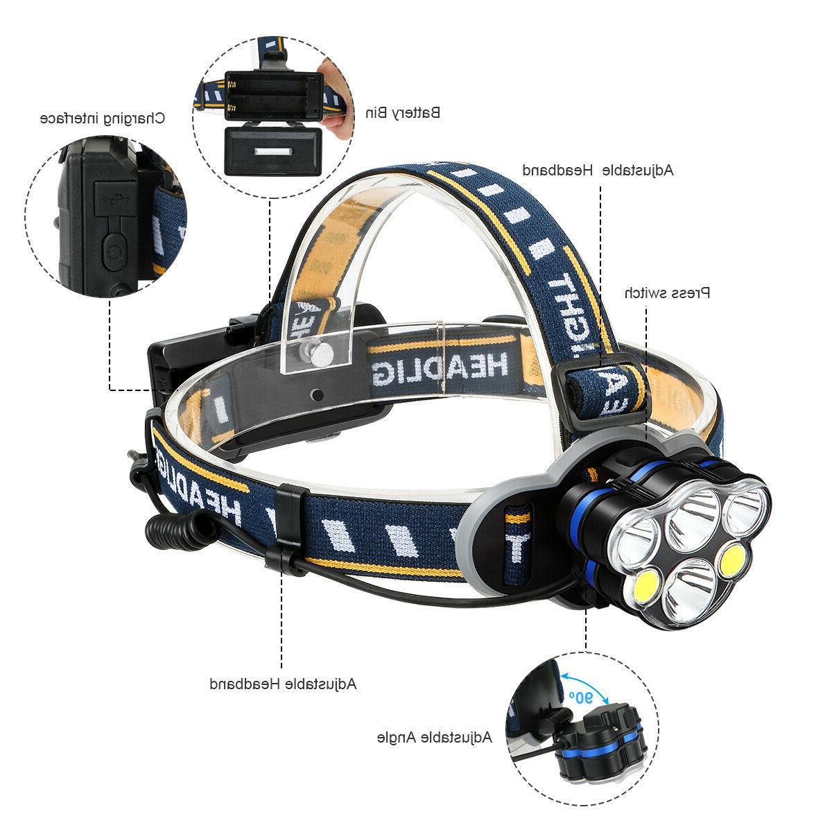 100000LM 5X CREE LED Headlamp Flashlight Head Riding