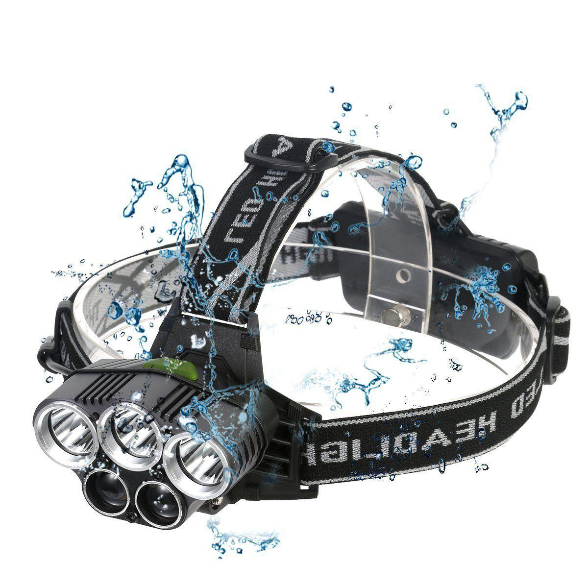 250000LM Headlamp 5XT6 Rechargeable Head Light Torch