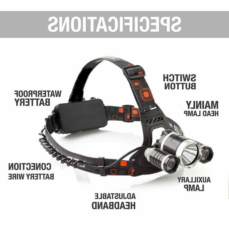 100000LM T6 Headlamp Head Torch 18650 Flashlight