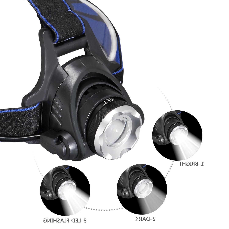 90000Lumens T6 Headlamp Rechargeable Headlight Head