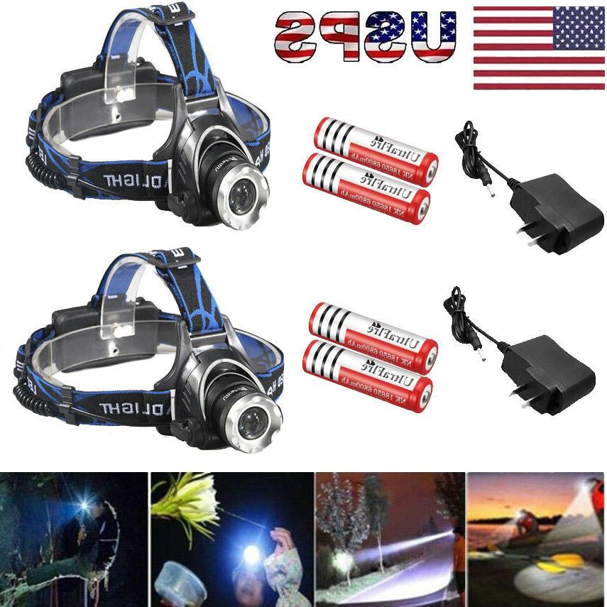 90000lumens t6 led zoomable headlamp rechargeable 18650