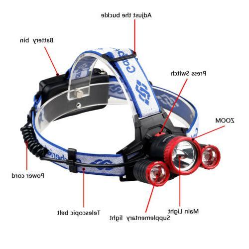Garberiel 990000LM 3-T6 Headlamp Headlight Torch Work Light