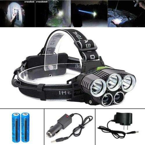 990000LM 5-LED Rechargeable Headlamp COB LED Headlamp