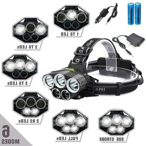 990000lm 5 led rechargeable 18650 headlamp head