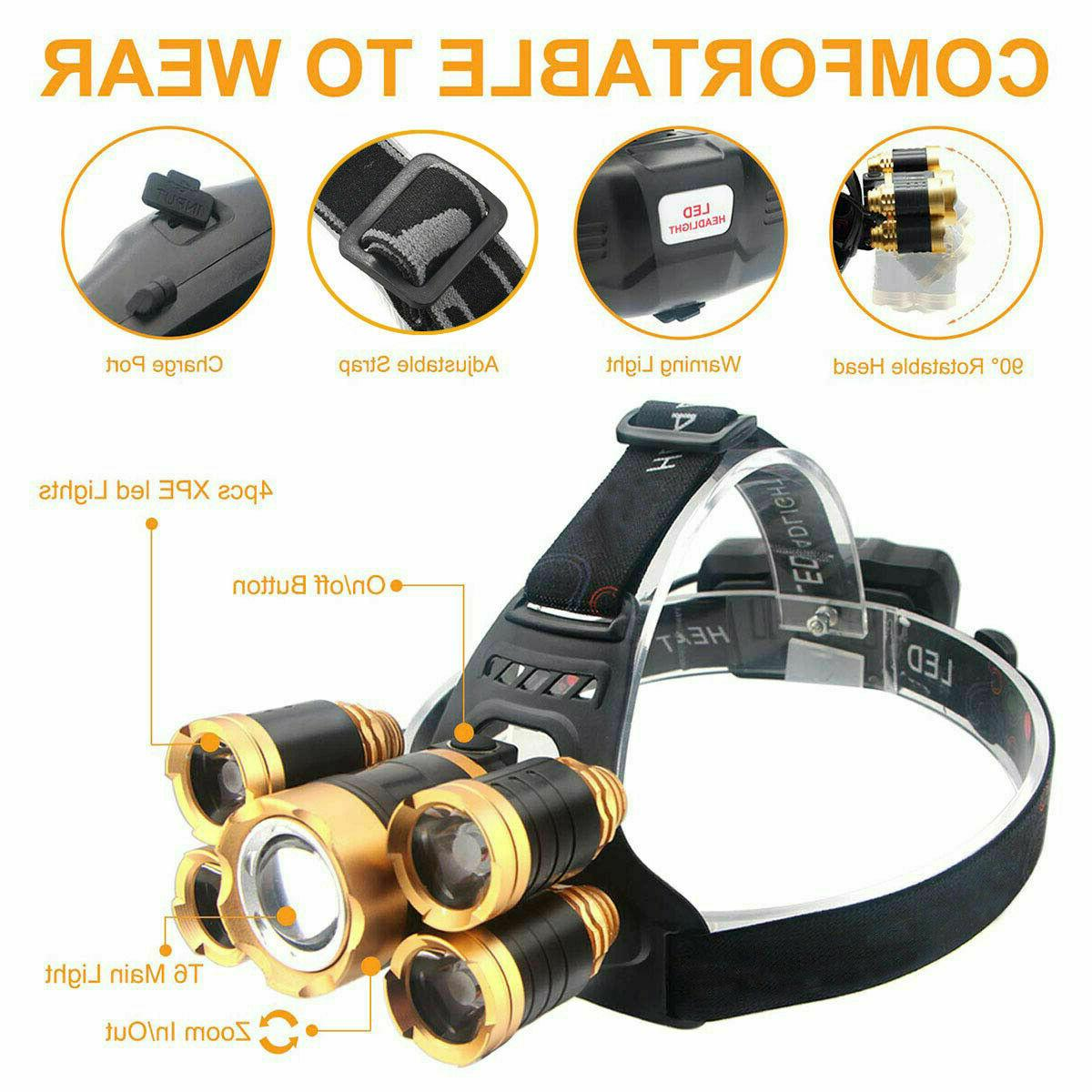 990000LM T6 LED Headlamp Flashlight Lamp USA