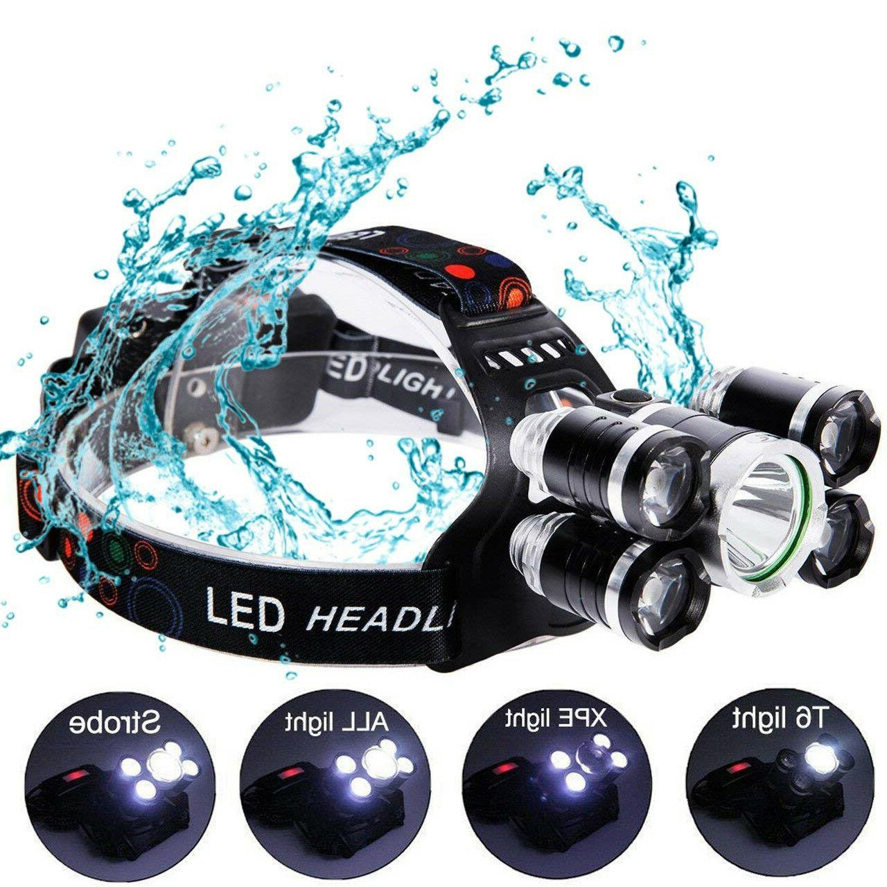 Super-bright 90000LM 5 XM-L T6 Headlight Flashlight Torch