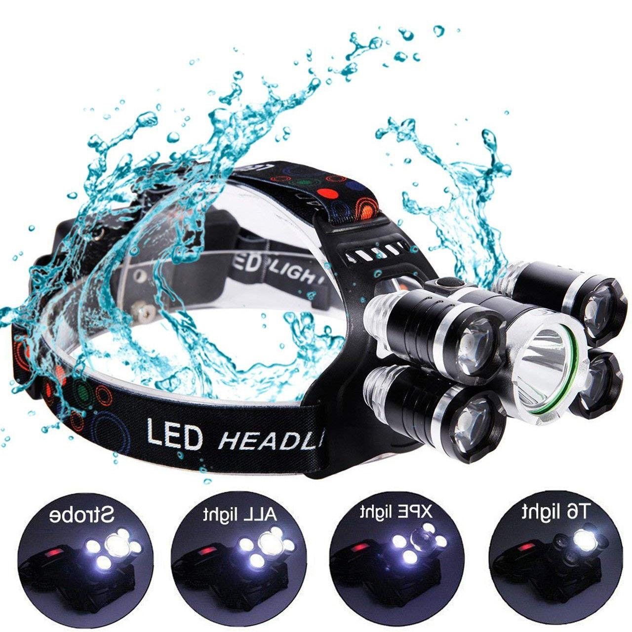 Super-bright 90000LM 5 XM-L T6 Headlight Flashlight Torch