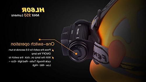 EdisonBright Fenix HL60R Lumen rechargeable XM-L2 Headlamp, 2 X Fenix 18650 with X CR123A back-up batteries