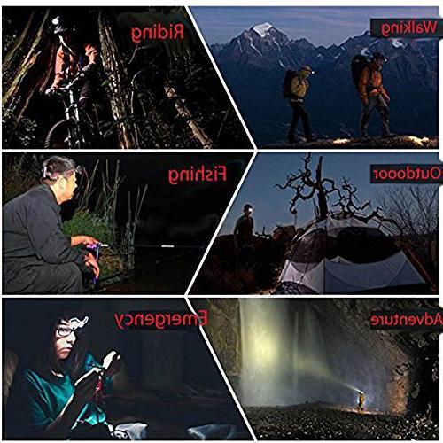 Boruit Cree XML 5000 Lumens Adjustable Flashlight Camping Running Headband