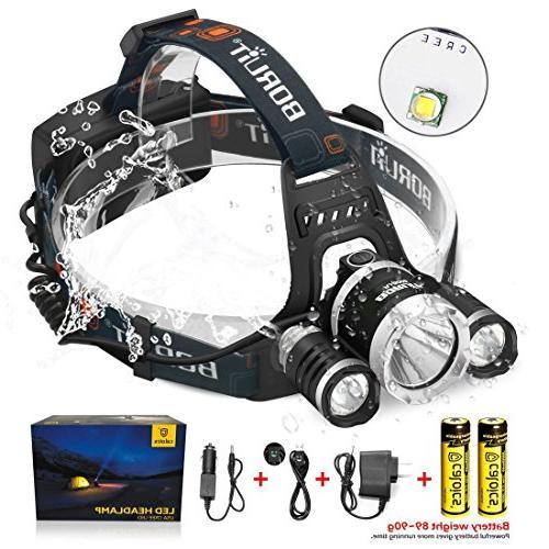 Boruit LED Headlamp 3xOriginal Cree T6 5000 Lumens Rechargeable 18650 Batteries Bright Adjustable Hands-Free Flashlight Camping
