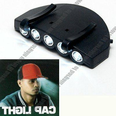 LED Cap Light Clip On Hat Brim Camping Fishing Bike 5 Bulb H