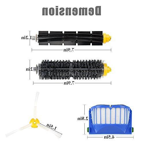 EEEKit Brushes Kit for iRobot 600 Series 650 pcs Filters+3 pcs Side Brushs+1 pcs Bristle Brush+1 Beater