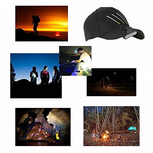 TOMOL Headlamp 5LED Rotatable Hat Ball Visor Pocket Reading 2Pack