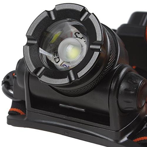 WindFire Lumens XM-L Waterproof Modes Rotating Headlamp Adjustable Headlight 18650 Power Indicator LED Flashlight AC Charger and X Rechargeable batteries Camping, Riding