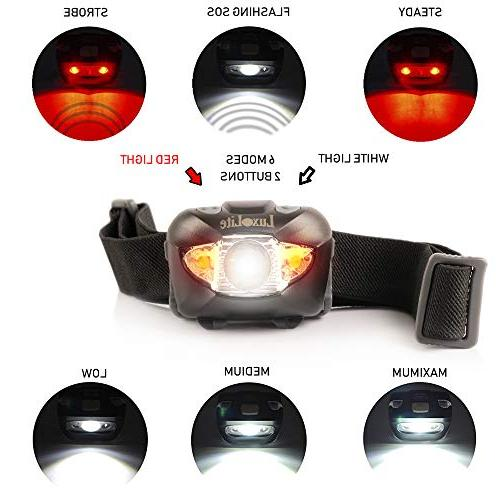 LED Headlamp Red Light Head Lamps - Headlight Lamp Camping Hiking Hunting Waterproof - Head Lamp with