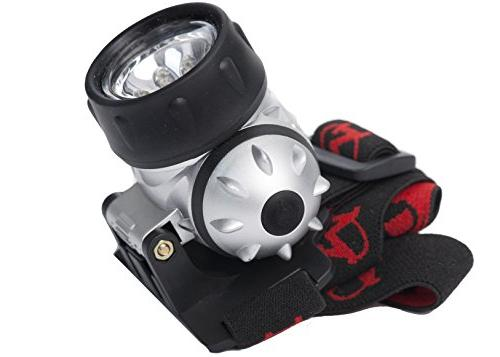 MhIL Hands-Free Battery Powered Flashlight/Headlight for Camping, Hiking, in The Using Without Light & Adjustable Head Strap