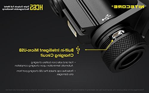 Nitecore 1000 Lumen USB Headlamp White/Red/High 2X CR123A Lumen Batteries