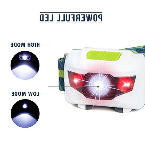 LED Headlamp - Great for Hiking, Kids, of the Lightest Water and with Red Batteries