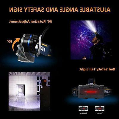 Headlamp, 1300 LED Headlight with Red Lights, Wa