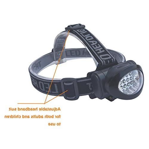 Lichamp Headlamp, 10 12 Portable Lamp Flashlight, Outdoor Lightweight Durable Headlight for Fishing, Hunting, Black Red Color