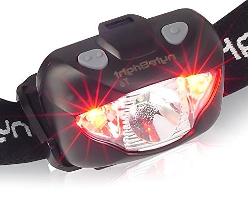LED Red Light Brightest Headlight Camping Hiking Running Backpacking Hunting Walking Reading - Lamp with Batteries!