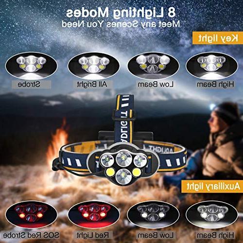 Headlamp Flashlight,6 Headlight lumen 8 18650 Batteries and USB Cable outdoor camping