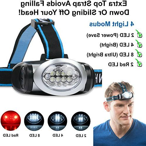 LED Headlamp Red Camping, & More Bright, Comfortable - Come with Batteries